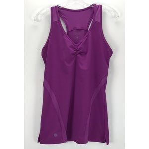 Purple Mesh Racer Back Fitted Yoga Athleisure Tank